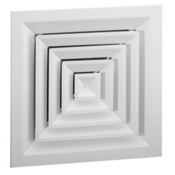 "6"" x 6"" (Wall Opening Size) White Steel Louvered Ceiling Diffuser, Flat Margin (SRE2 Series) Product Image"