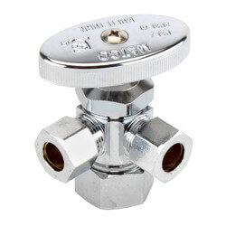"""5/8"""" OD Compr. x 3/8"""" OD Compr. x 3/8"""" OD Compr. Dual Angle Stop, Lead Free (Chrome) Product Image"""