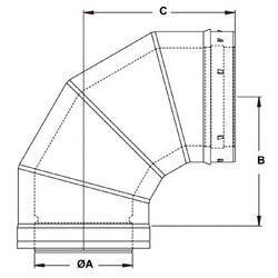 "3"" x 90° Z-Vent<br>Double Wall Elbow Product Image"