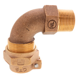 """1"""" Pack Joint x MNPT 1/4 Bend - T-4410NL (No Lead Bronze) Product Image"""