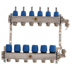 "6 Loop 1-1/4"" Stainless Steel Manifold w/ Flowmeter & Ball Valve (Fully Assembled) Product Image"