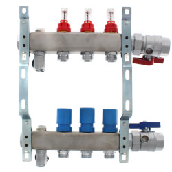 "3 Loop 1-1/4"" Stainless Steel Manifold w/ Flowmeter & Ball Valve (Fully Assembled) Product Image"