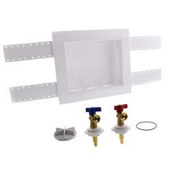 "1/2"" PEX Crimp QUADTRO Washing Machine Outlet Box w/ 1/4 Turn Valves Product Image"