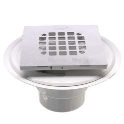 """2"""" or 3"""" PVC Shower Drain with Square Snap-Tite Stainless Steel Strainer Product Image"""