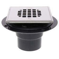 "2"" or 3"" PVC Shower Drain with Square Snap-Tite Stainless Steel Strainer Product Image"