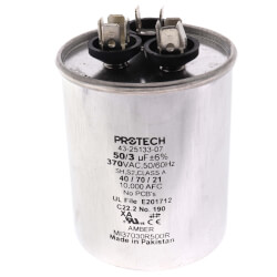 Dual Capacitor 50/3 MFD <br>Round Style (370V) Product Image