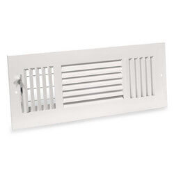 """8"""" x 4"""" (Wall Opening Size) White Three-Way Sidewall/Ceiling Register (683 Series) Product Image"""