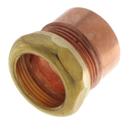 "1-1/2"" x 1-1/4"" Copper DWV Fitting Trap Adapter<br>(FTG x Slip Joint) Product Image"
