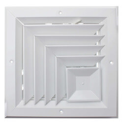 "8"" x 8"" (Wall Opening Size) White 2-Way Corner Ceiling Diffuser (A505MS Series) Product Image"