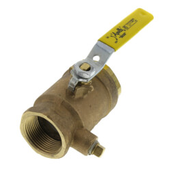 "1-1/4"" Gas Shut-Off Ball Valve, 1/4"" Tap Product Image"