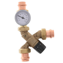 "3/4"" Press Union AngleMix Thermostatic Mixing Valve w/ Temperature Gauge Product Image"
