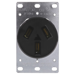 Flush Mount Receptacle, 50A, 3P, NEMA 10-50R - Black (125/250V) Product Image