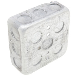 """4"""" Steel Square Box w/ 1/2"""" and 3/4"""" Knockouts Product Image"""