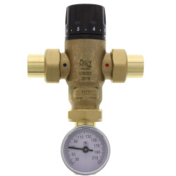 """3/4"""" Sweat MIXCAL <br>3-Way Thermostatic<br>Mixing Valve w/ Gauge Product Image"""