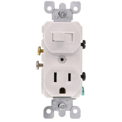 Single Pole Duplex AC Combo Switch, Grounding, 15A - White (120V) Product Image