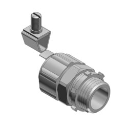 """1/2"""" Non Insulated Steel Liquid Tight Connector w/ External Grounding Connector, Revolver Lug Product Image"""