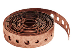 "3/4"" × 10 ft Copper-Plated Steel Hanger Strap w/ 1/4"" & 3/16"" Holes Product Image"