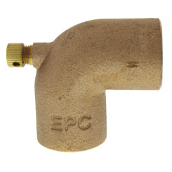 "1"" Cast Brass 90° Elbow w/ Drain Product Image"