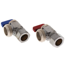 "5/8"" OD Comp x Male Hose, Angle Hose & Boiler Drain w/ Red & Blue Handles, LF, Chrome Plated (Pack of 2) Product Image"