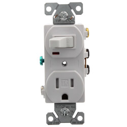 1P, 3W Grounding White Switch/Plug Combo,<br>15A (120V) Product Image