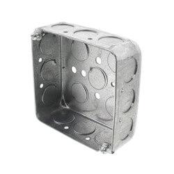 "4"" L x 4"" W x 1-1/2"" D Galvanized Steel Utility Box w/ 1/2"" Knockouts  Product Image"