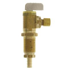 "3/8"" PEX Crimp x 1/4"" OD Comp. Angle Icemaker Valve (Brass) Product Image"