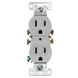 White Residential Electrical Duplex Receptacle (15A, 125V) Product Image