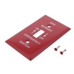 """Red Emergency Gas Burner Cover Plate w/ White Text (4-1/2"""" x 2-1/2"""") Product Image"""