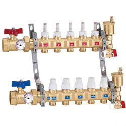 "1-1/4"" TwistFlow Inverted Manifold w/ Temp Gauge (3 Outlets) Product Image"