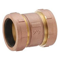 "3/8"" IPS (1/2"" CTS) Brass Compression Coupling Long (Lead Free) Product Image"