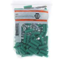 "#10 x 1"" Plastic Anchor Kit with Drill Bits (100 Screws/Anchors) Product Image"