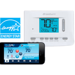 """BlueLink Smart Wi-Fi Universal Programmable Thermostat, 3"""" Display (3 Heat/2 Cool) Product Image"""