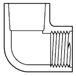 "1/4"" Socket x 1/4""<br>FPT CPVC Schedule<br>80 90° Elbow Product Image"