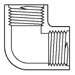 """1/4"""" FPT CPVC<br>Schedule 80 90° Elbow Product Image"""