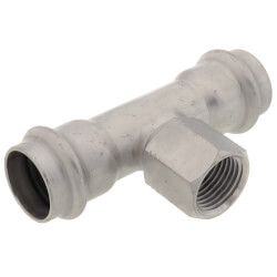 """3/4"""" x 3/4"""" x 1/2"""" ProPress 316 Stainless Steel Reducing Tee (P x P x FPT) Product Image"""