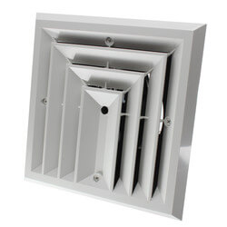 "MV3S Ceiling Diffuser<br>w/ 3-Way Grille (6"" x 6"") Product Image"