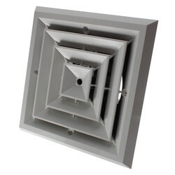 "MV4S Ceiling Diffuser<br>w/ 4-Way Grille (6"" x 6"") Product Image"