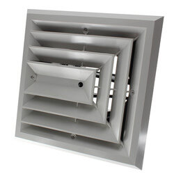 "MV3 Ceiling Diffuser<br>w/ 3-Way Grille (8"" x 8"") Product Image"