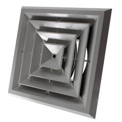 "MV4 Ceiling Diffuser<br>w/ 4-Way Grille (8"" x 8"") Product Image"