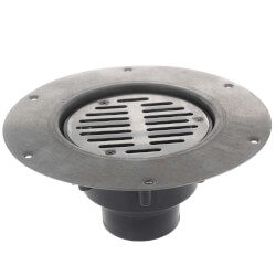 "2"" x 3"" PVC Halo Adj. Floor Drain w/ Deck Flange, Round SS Strainer (Hub) Product Image"