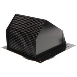"""6"""" Round Duct Black Wall Cap w/ Damper Product Image"""