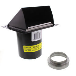 """3"""" or 4"""" Round Duct Black Wall Cap w/ Damper Product Image"""