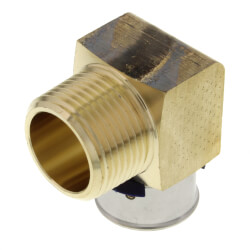 """3/4"""" PEX Press x 3/4"""" Male 90° Elbow w/ Attached Sleeve (Zero Lead Bronze) Product Image"""