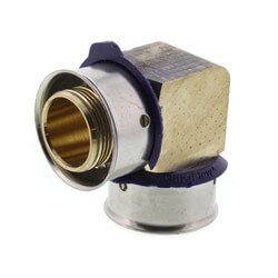 "3/4"" PEX Press 90° Elbow w/ Attached Sleeve (Zero Lead Bronze) Product Image"