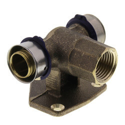 "3/4"" x 3/4"" PEX Press x 1/2"" FNPT Vertical Fire Sprinkler Tee w/ Sleeve (LF) Product Image"