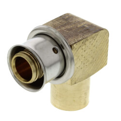 "1/2"" PEX Press x Copper Fitting 90° Elbow w/ Sleeve (Lead Free) Product Image"