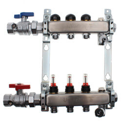 """3-Loop 1"""" Stainless Steel Radiant Heat Manifold Assembly w/ Flow Meter Product Image"""