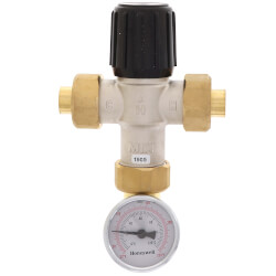 "1/2"" Sweat Union Mixing Valve w/ Temperature Gauge (Heating Only) Product Image"