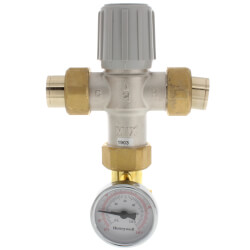 "3/4"" Lead Free Union Sweat Mixing Valve w/ Temp Gauge (70-145F) Product Image"