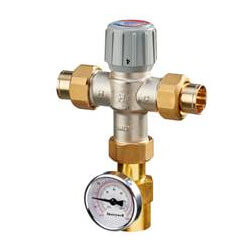"""1"""" Lead Free Mixing Valve, Union Sweat w/ Temperature Gauge (70-120F) Product Image"""